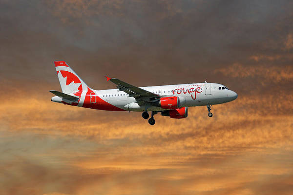 Air Canada Wall Art - Photograph - Air Canada Rouge Airbus A319-114 3 by Smart Aviation