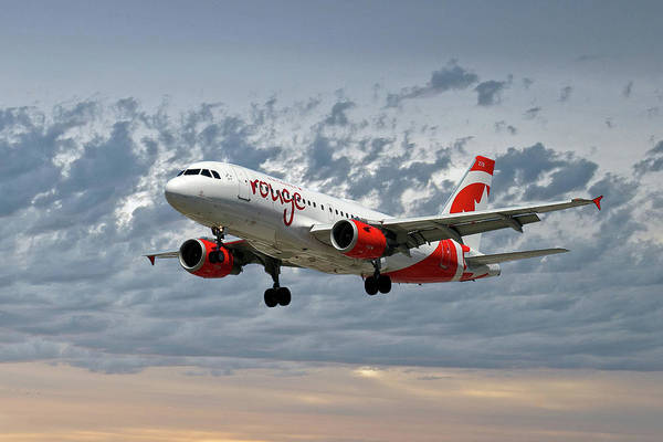 Air Canada Wall Art - Photograph - Air Canada Rouge Airbus A319 by Smart Aviation