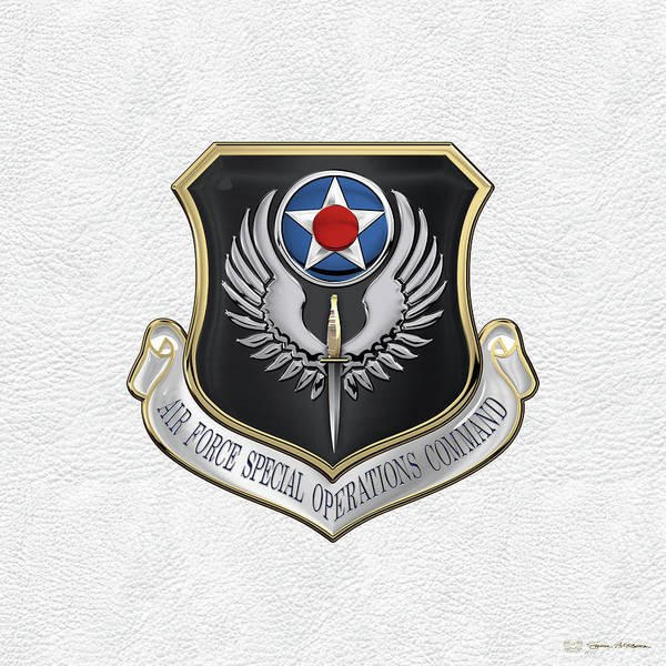 Digital Art - Air Force Special Operations Command -  A F S O C  Shield Over White Leather by Serge Averbukh
