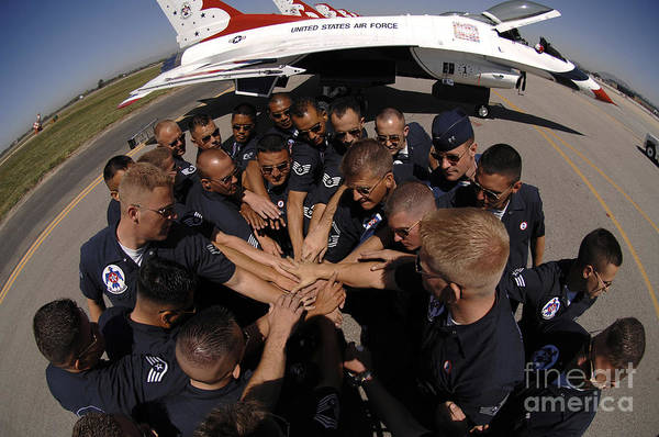Cheer Photograph - Air Force Thunderbird Maintainers Bring by Stocktrek Images