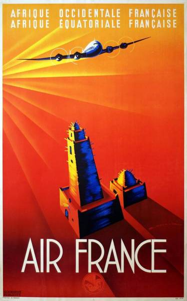 Wall Art - Mixed Media - Air France - Afrique Occidentale - Afrique Equatoriale 1947 - Retro Travel Poster - Vintage Poster by Studio Grafiikka