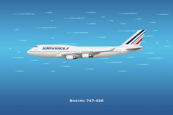 Wall Art - Digital Art - Air France Boeing 747-428 by J Biggadike