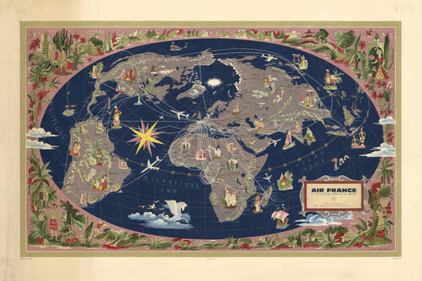 Wall Art - Mixed Media - Air France - Illustrated Map Of The Air Routes By Lucien Boucher - Historical Map Of The World by Studio Grafiikka