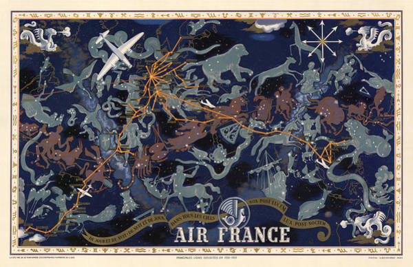 Wall Art - Drawing - Air France - Illustrated Poster Of The Constellations - Blue - Celestial Map - Celestial Atlas by Studio Grafiikka