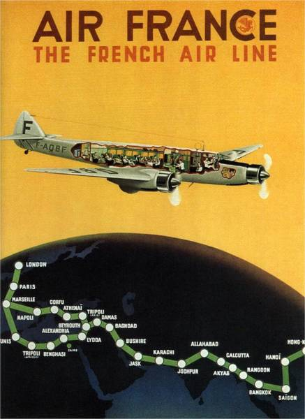 Wall Art - Mixed Media - Air France - The French Air Line - Retro Travel Poster - Vintage Poster by Studio Grafiikka