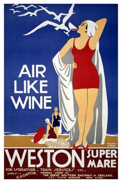 Seagulls Mixed Media - Air Like Wine - Weston Super Mare, England - Retro Travel Poster - Vintage Poster by Studio Grafiikka