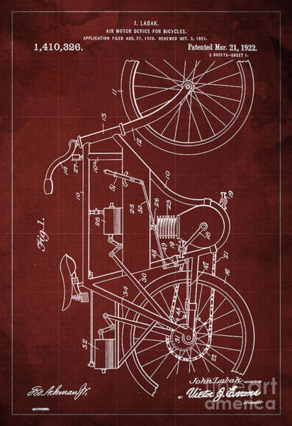 Invention Painting - Air Motor Device For Bycicles Patent Blueprint From 1922, Gift For Biker by Drawspots Illustrations