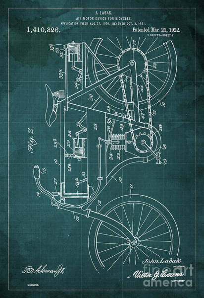 Invention Painting - Air Motor Device For Bycicles Patent Blueprint From 1922, Green Art Print by Drawspots Illustrations