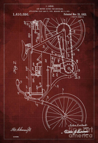 Invention Painting - Air Motor Device For Bycicles Patent Blueprint From 1922 Red Vintage Background by Drawspots Illustrations