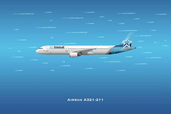 Wall Art - Digital Art - Air Transat Airbus A321-211 by J Biggadike