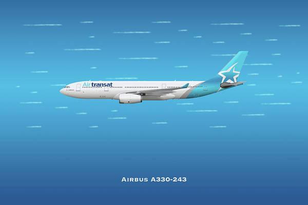 Wall Art - Digital Art - Air Transat Airbus A330-243 by J Biggadike