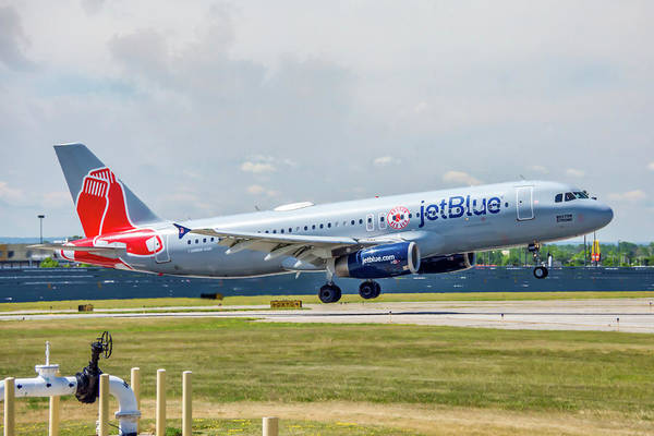 Jetblue Wall Art - Photograph - Airbus A320 Boston Strong by Guy Whiteley