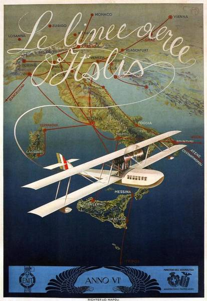 Wall Art - Mixed Media - Aircraft Flying Over Italy - Byplane - Retro Travel Poster - Vintage Poster by Studio Grafiikka