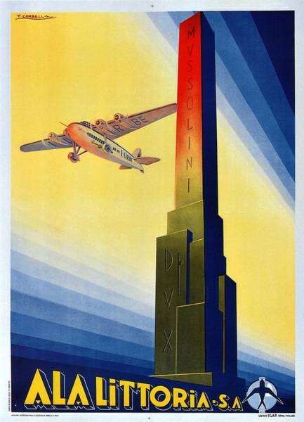 Wall Art - Painting - Aircraft Flying Over The Mussolini Dux Obelisk - Ala Littoria - Vintage Travel Poster by Studio Grafiikka