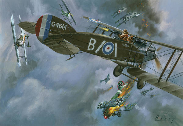 Wall Art - Painting - Aircraft In Dogfight by Wilf Hardy
