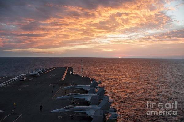 Flight Deck Painting - Aircraft Sit On The Flight Deck Of The Aircraft Carrier Uss Theodore Roosevelt by Celestial Images