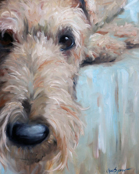 Wall Art - Painting - Airedale Blues by Mary Sparrow