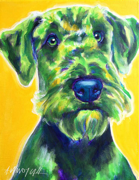 Wall Art - Painting - Airedale Terrier - Apple Green by Alicia VanNoy Call