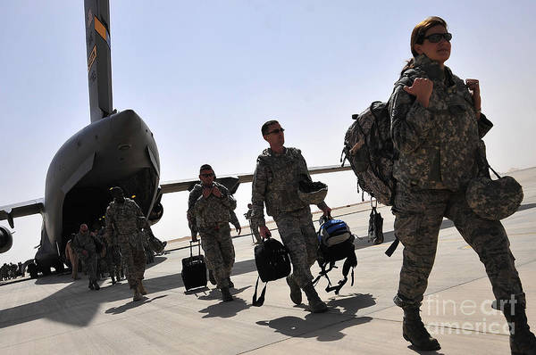Airbase Photograph - Airmen Arrive In Iraq In Support by Stocktrek Images