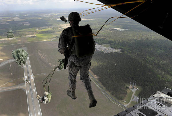 Base Jumping Photograph - Airmen Jump Out Of An Hc-130pn Combat by Stocktrek Images