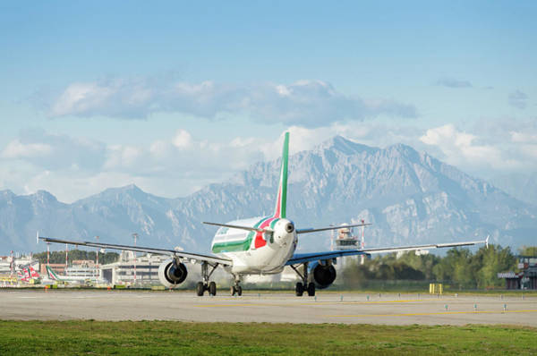 Alitalia Photograph - Airplane And Mountains by Alexandre Rotenberg