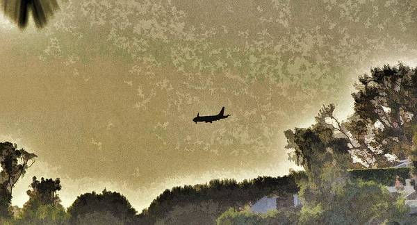 Orange County Digital Art - Airplane At Sunset 1 Abstract  by Linda Brody