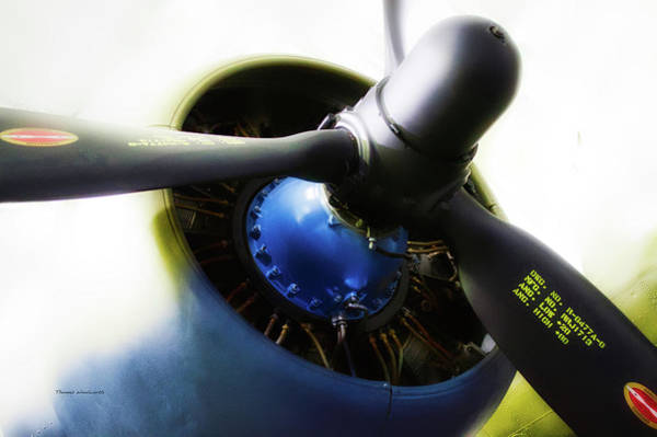 Doona Mixed Media - Airplane Military C47a Skytrain Engine Propeller by Thomas Woolworth