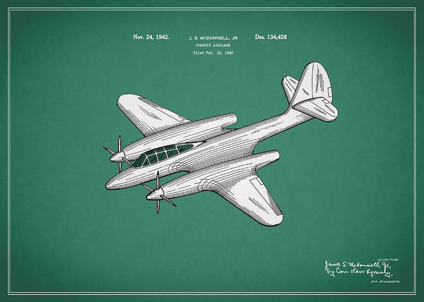 Wall Art - Photograph - Airplane Patent 1942 by Mark Rogan