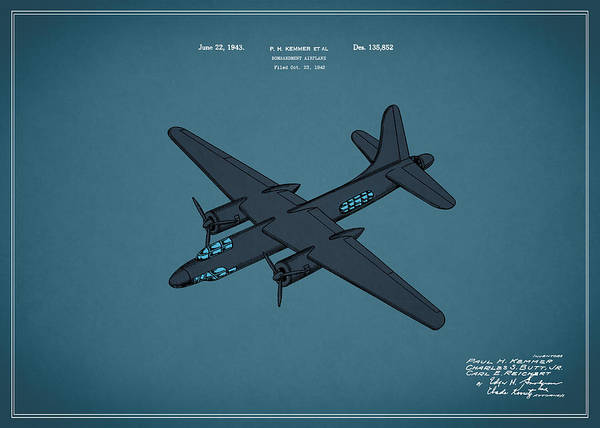 Wall Art - Photograph - Airplane Patent 1943 by Mark Rogan