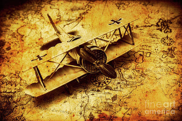 Photograph - Airplane War Bomber Miniature On Vintage Map by Jorgo Photography - Wall Art Gallery