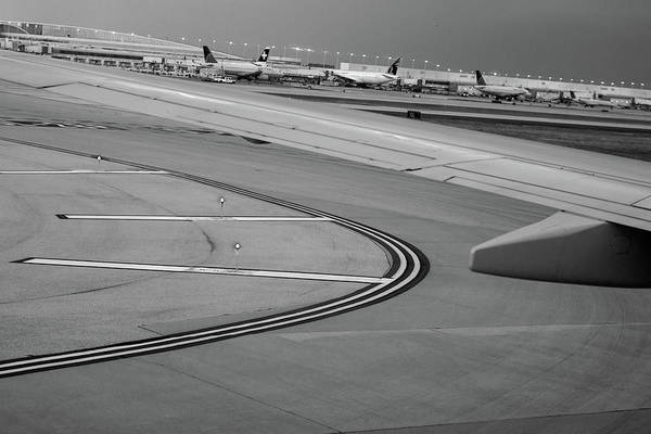 Wall Art - Photograph - Airport Taxiway B W by Steve Gadomski