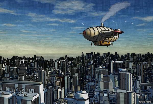 Ken Morris Digital Art - Airship Over Future City by Ken Morris