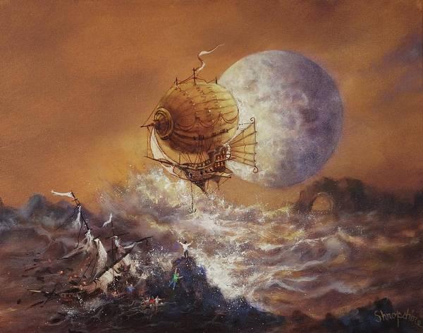 Wall Art - Painting - Airship Sea Rescue by Tom Shropshire
