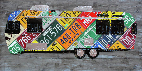 Camper Wall Art - Mixed Media - Airstream Camper Trailer Recycled Vintage Road Trip License Plate Art by Design Turnpike