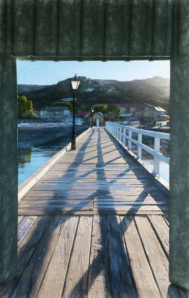 Wall Art - Photograph - Akaroa New Zealand Pier Sketch by Joan Carroll