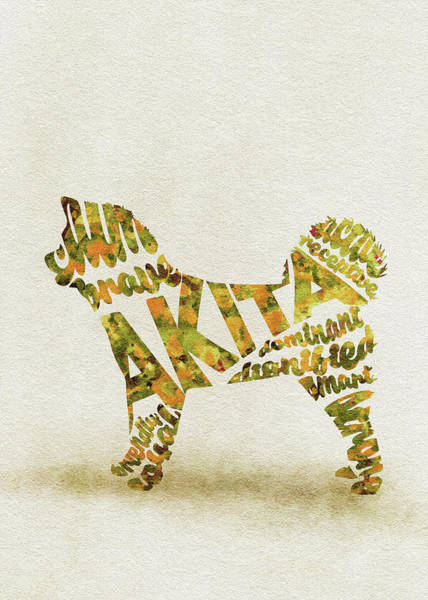 Painting - Akita Inu Watercolor Painting / Typographic Art by Inspirowl Design