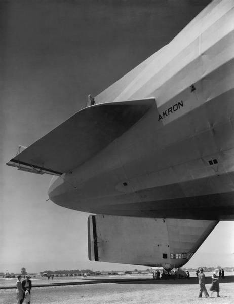 Photograph - Akron Dirigible At Moffett by Underwood Archives