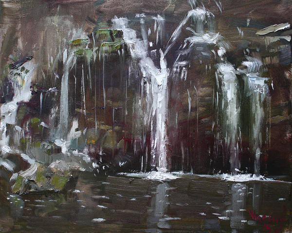 Wall Art - Painting - Akron Falls by Ylli Haruni
