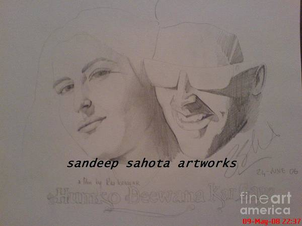 Singh Drawing - Akshay Katrina by San Art Studio