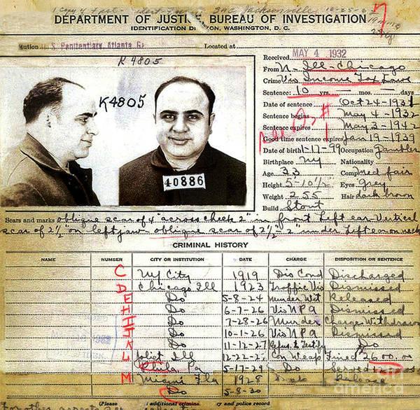 Photograph -  Al Capone - Fbi Charge Sheet by Doc Braham