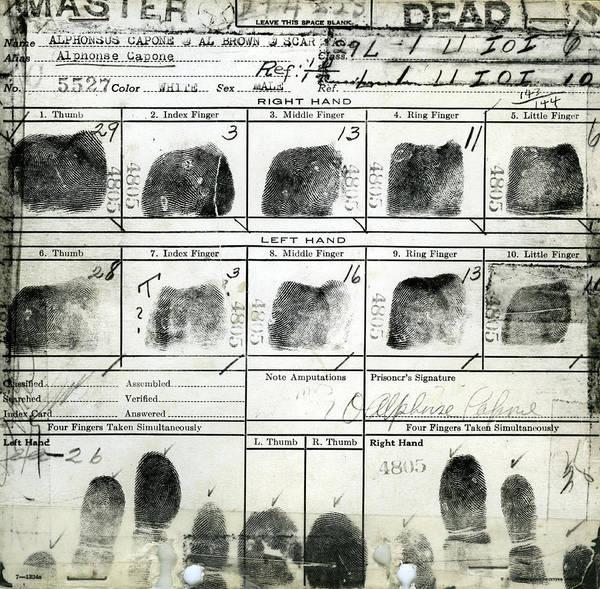 Mixed Media - Al Capone Fingerprints by Dan Sproul