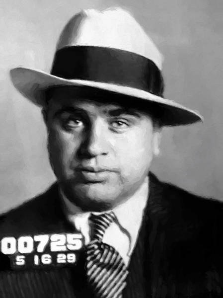 Outfit Digital Art - Al Capone Mugshot Painterly by Daniel Hagerman