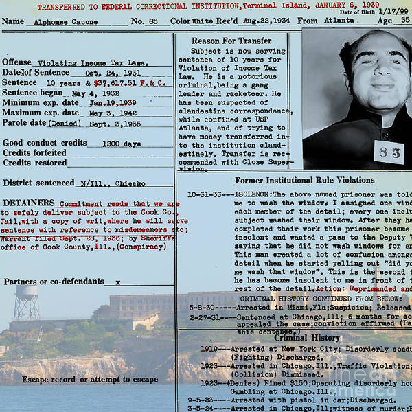 Photograph - Al Capone Transfer Record Alcatraz Island To Terminal Island 20170518 Square V2 by Wingsdomain Art and Photography