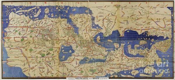 Photograph - Al Idrisi World Map 1154 by SPL and Photo Researchers