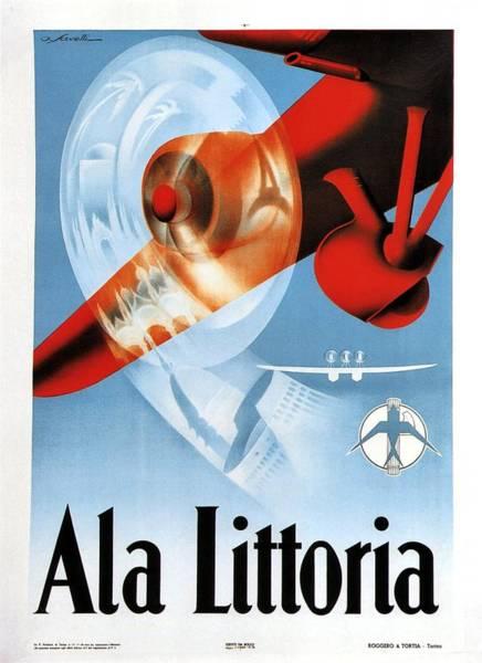 Wall Art - Painting - Ala Littoria - Vintage Travel Poster - Propeller Aircraft Illustration by Studio Grafiikka