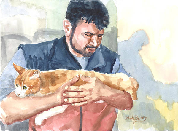 Alaa Rescuing An Injured Cat Art Print
