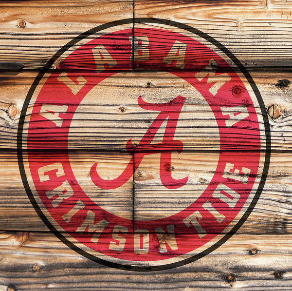 Wall Art - Digital Art - Alabama Crimson Tide Logo On Rustic Wood  by Daniel Hagerman