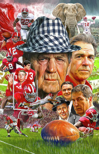 Grass Painting - Alabama Crimson Tide by Mark Spears