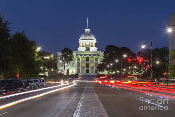 Photograph - Alabama State Capitol At Twilight I by Clarence Holmes