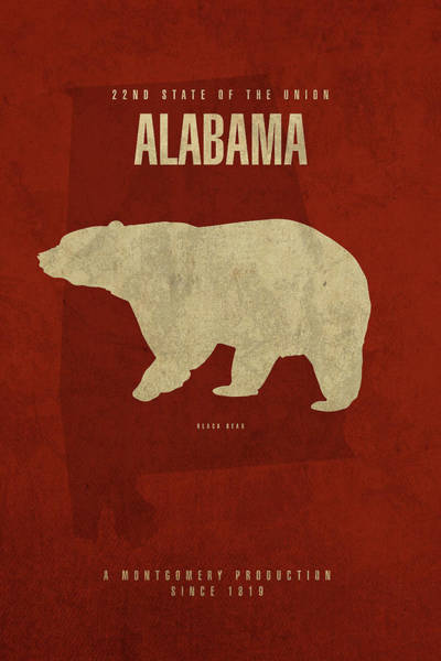 Wall Art - Mixed Media - Alabama State Facts Minimalist Movie Poster Art by Design Turnpike
